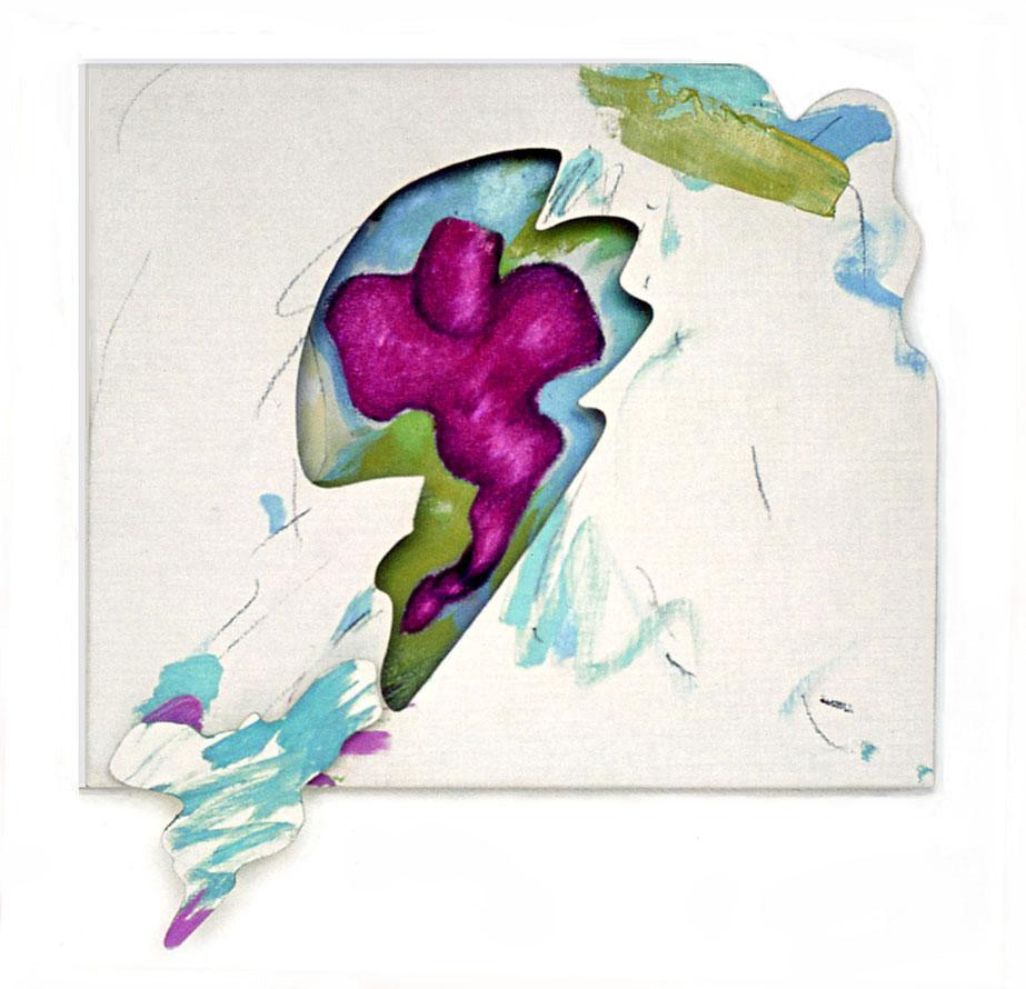 "Purple Organics Flying, 1964  Acrylic and Charcoal on Canvas on Masonite  15""x16""x3"""