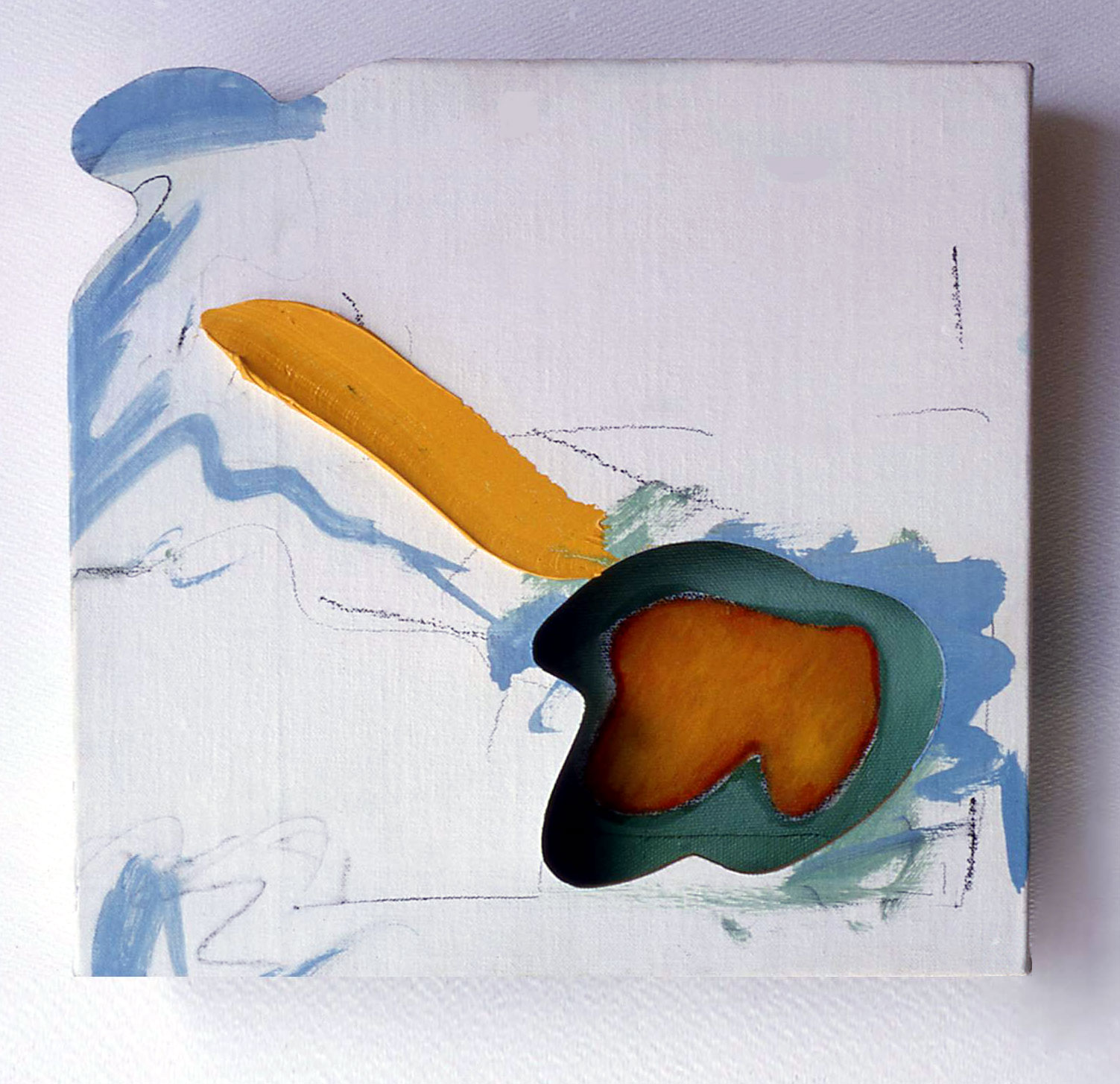 """Female Convergence, 1964  Acrylic and Charcoal on canvas on masonite  12""""x12""""x2"""""""