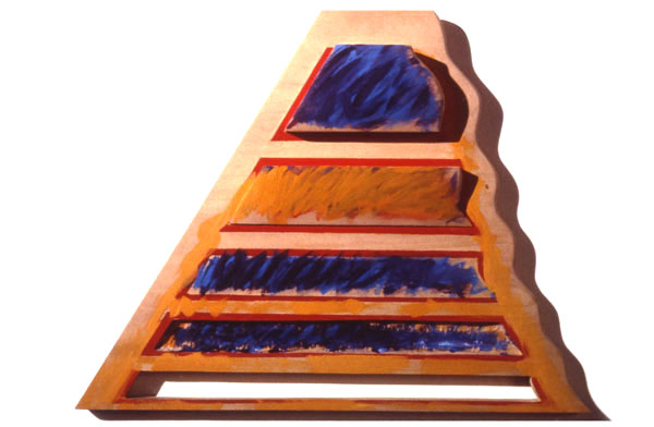 """Mastaba,1984  Bas Relief Wood Carving and Paint  23""""x17""""x3"""""""
