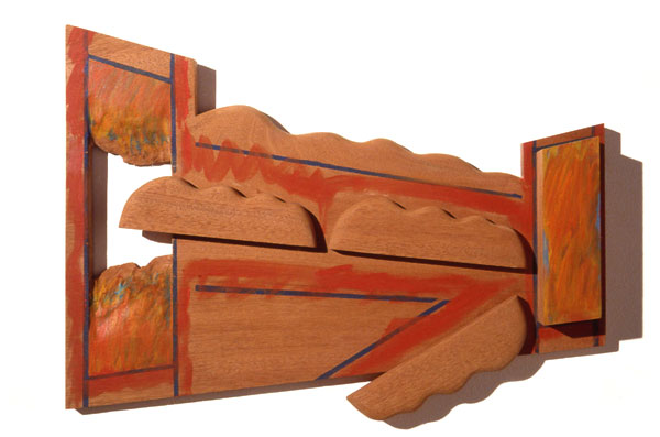 """Revolving Door, 1984  Bas Relief Wood Carving and Paint  15""""x25""""x4"""""""