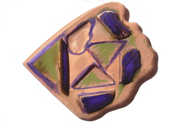 """Purple and Green Scape, 1983  Bas Relief Wood Carving and Paint  12""""x13""""x3"""""""