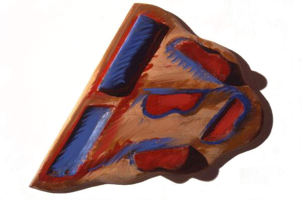 """Red and Blue Landscape, 1983  Bas Relief Wood Carving and Paint  14""""x16""""x4"""""""