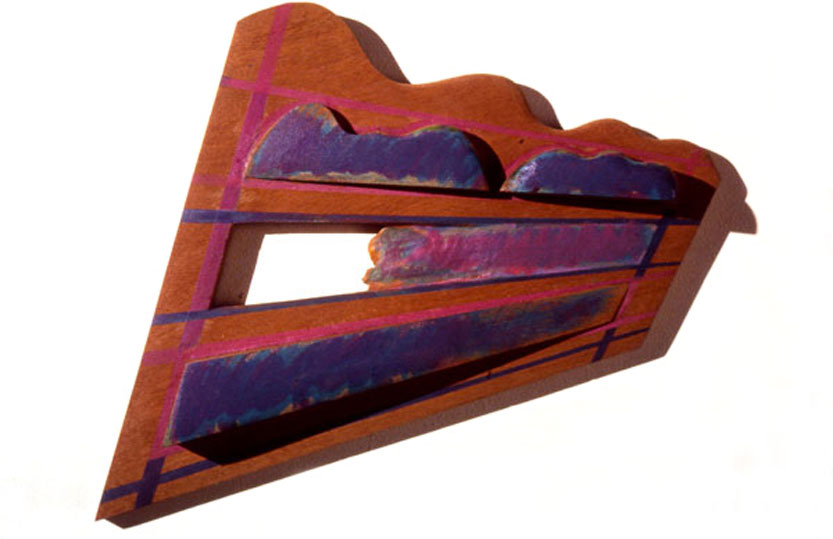 """Purple Scape, 1984  Bas Relief Wood Carving and Paint  12""""x24""""x3"""""""