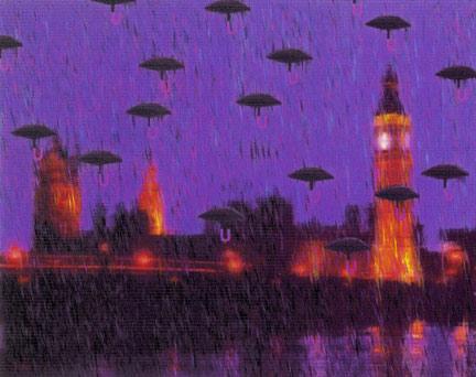 U/Umbrellas/London, 1998  Digital Painting