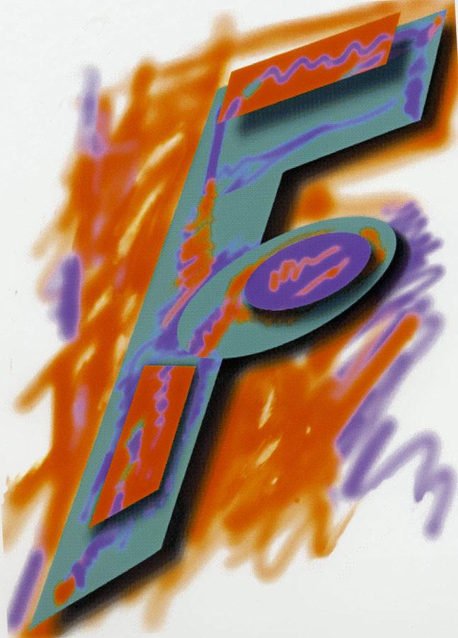 F/Abstract Orange, 1993  Digital Painting