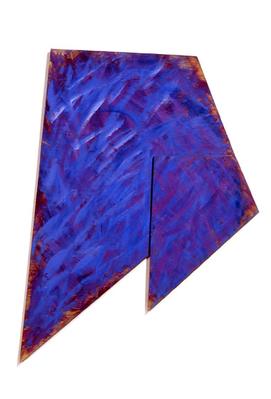 "Flying Geometric Blue, 1986  Acrylic Paint on Plywood  40""x32""x1"
