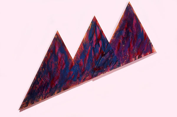 "Xmas Triangles, 1986  Acrylic Paint on Plywood  17""x43""x1"