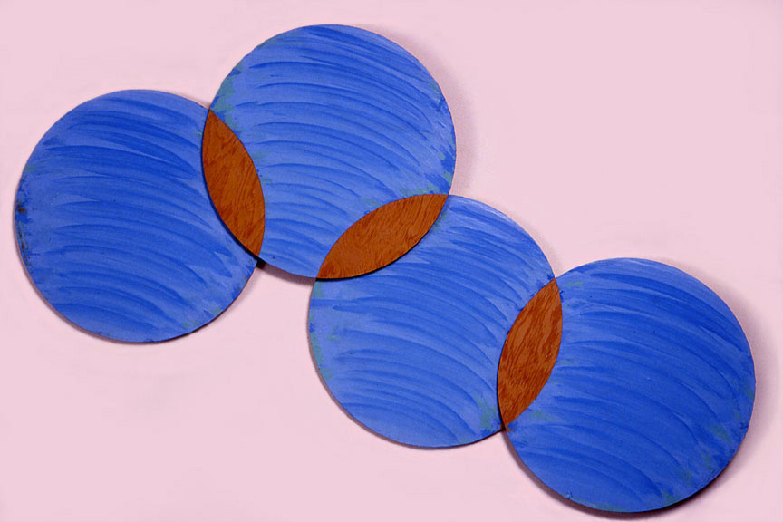"Light Blue,  Circle Series, 1988  Acrylic Paint on Plywood  72""x20""x1"""
