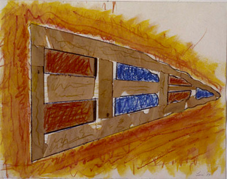 """Perspective1, 1985  Crayon, Paint, Wood, on Paper  11""""x14""""x1"""""""