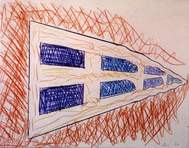 "From Wood8, 1985  Monoprint, Crayon  11""x14"""