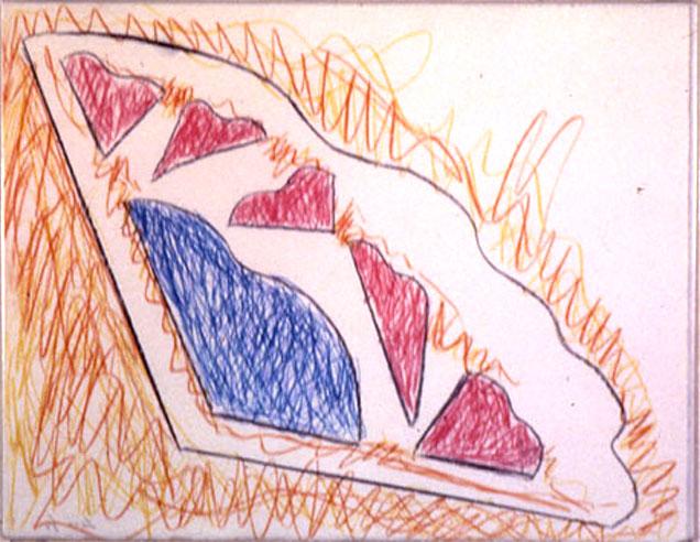 "From Wood9, 1985  Monoprint, Crayon  11""x14"""