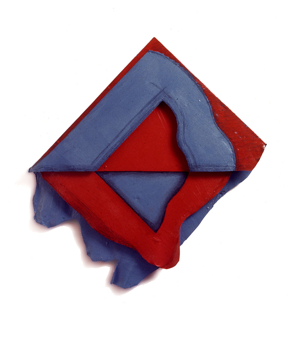 "Red and Blue Organic, 1976  Layered Acrylic and Rhoplex  20""x24""x3"""