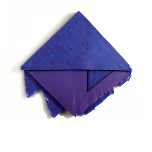 "Blue and Purple Triangle, 1977  Layered Acrylic and Rhoplex  20""x20""x3"""