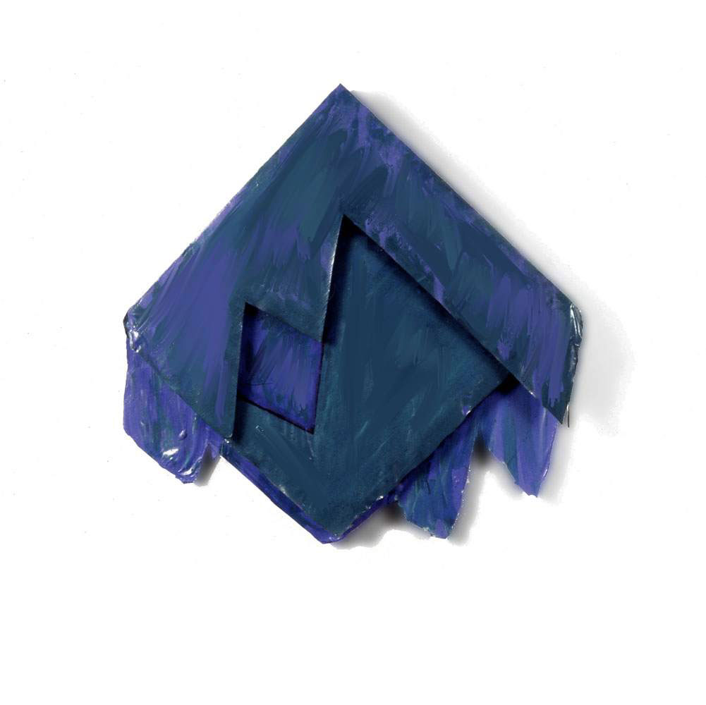 "Blue Green Diamond, 1977  Layered Acrylic and Rhoplex  20""x20""x3"""