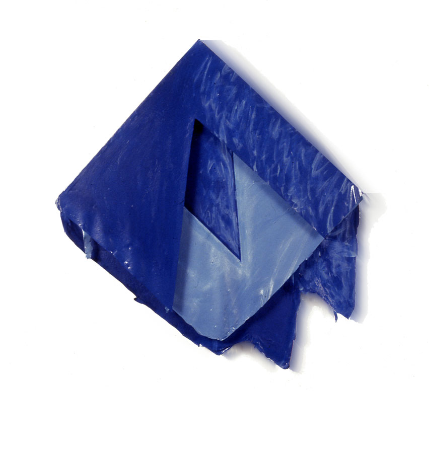 "Ultramarine Blue Triangles, 1977  Acrylic and Rhoplex Layered Paintings  30""x40""4"""