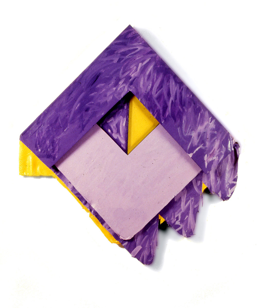 "Purple Yellow Triangles, 1977  Acrylic and Rhoplex Layered Paintings  30""x40""x4"""