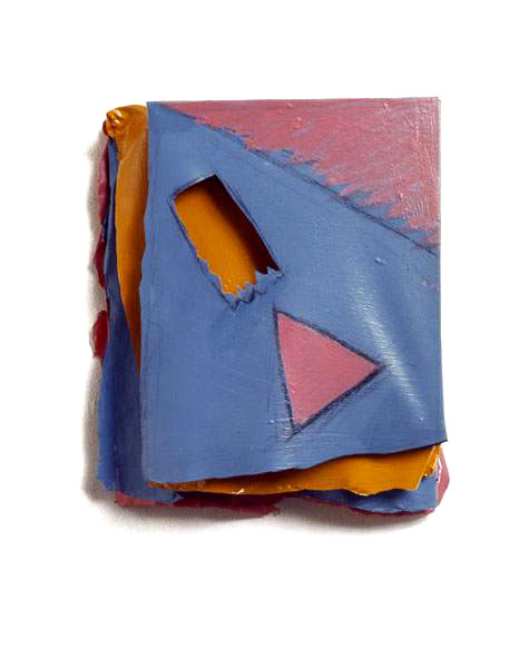 "Pink, Orange, Blue Triangle and Rect, 1975  Layered Acrylic and Rhoplex  5""x8'x3"""