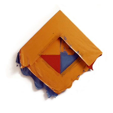 "Orange, Red and Blue Geo Square, 1976  Acrylic and Rhoplex Layered Paintings  20""x20""x3"""