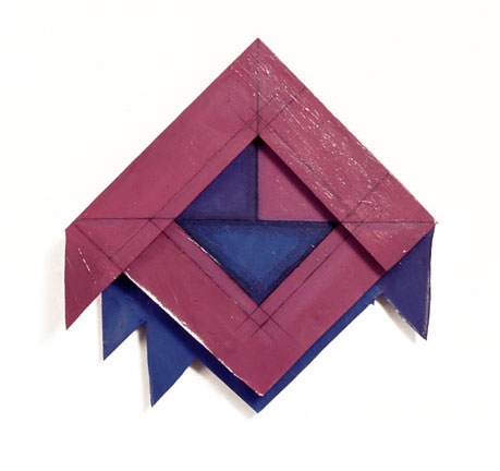 "Violet and Blue Triangles, 1977  Acrylic and Rhoplex Layered Paintings with Pencil  20""x20""x3"""