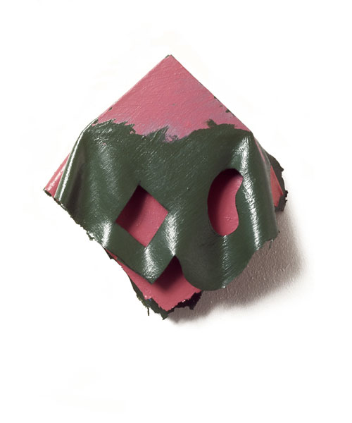 "Pink and Green Geo, Organic Folds, 1975  Layered Acrylic and Rhoplex  8""x9""x3"""