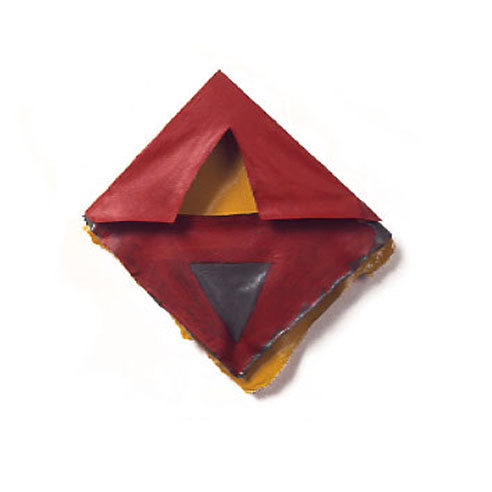 "Dark Red, Green, Yellow Triangles, 1975  Layered Acrylic and Rhoplex  8'x9""x3"""