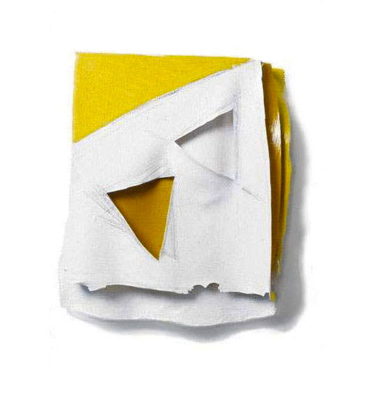 "Yellow and White Geo, 1975  Layered Acrylic and Rhoplex  6'x9""x3"""