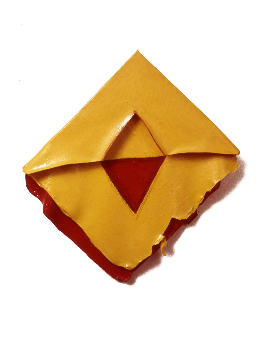"Red and Yellow Geo,1975  Layered Acrylic and Rhoplex  9""x9""x2"""