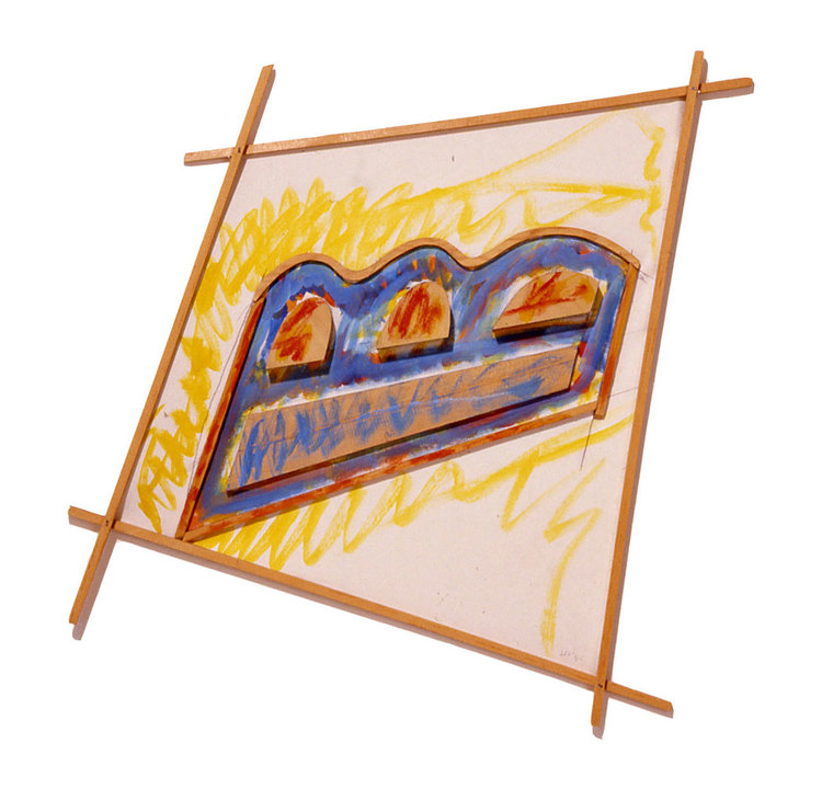 """Flight, Red Blue and Yellow, 1985  Acrylic Paint on Canvas and Wood  41""""x41""""x1"""""""