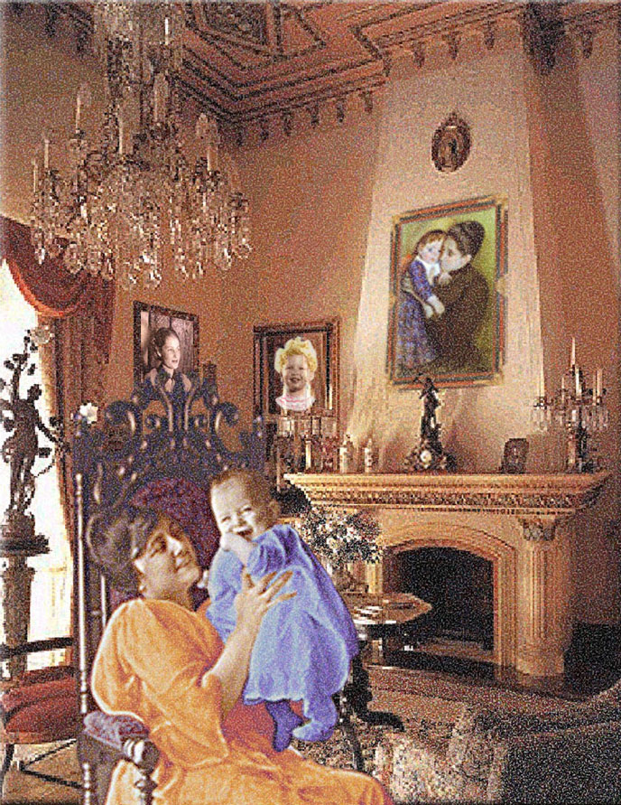 Mothers and Children: Rose and Richard, Mary Casset, Linda and Aimee in Victorian Interior, 2006  Digital Painting