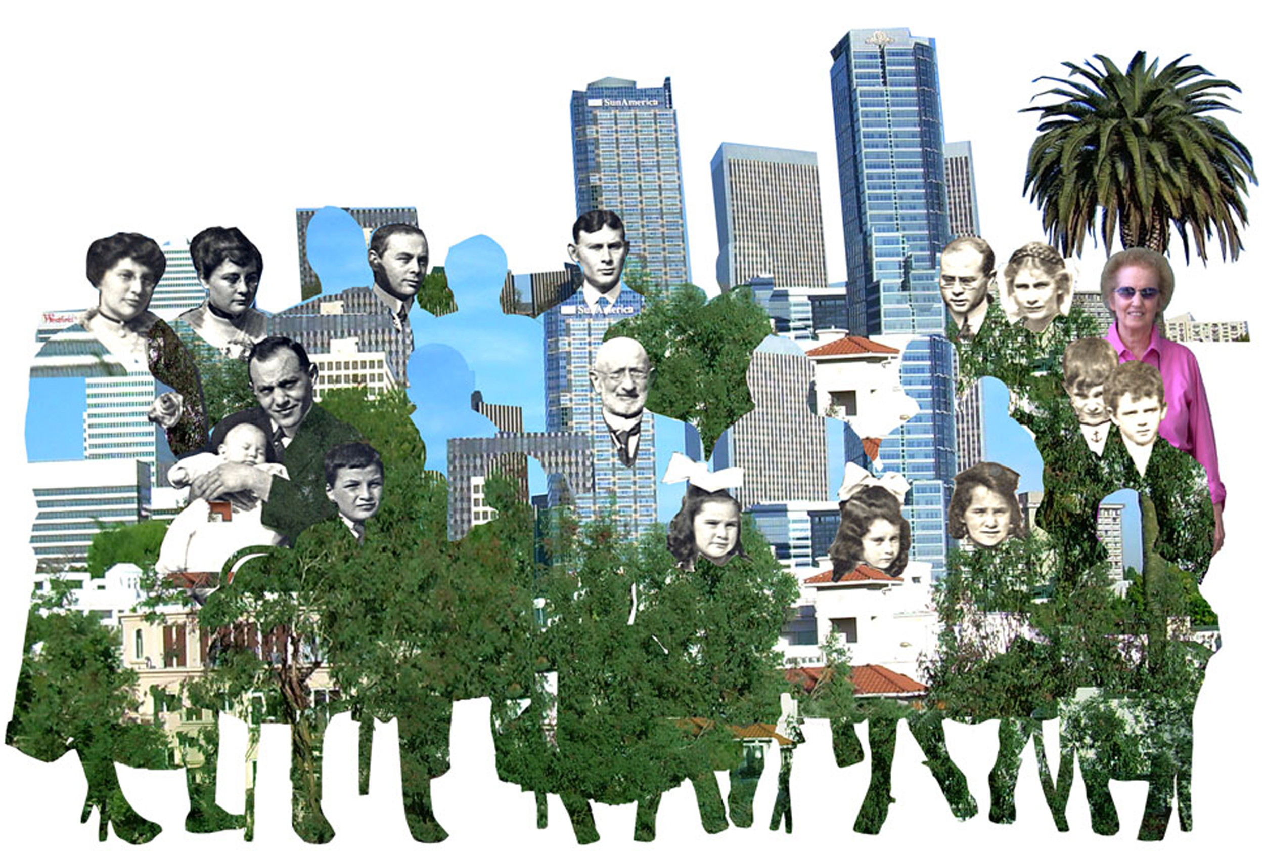 Newmarks in Westlake Park, 1919, and Century City 2007, 2008  Digital Painting