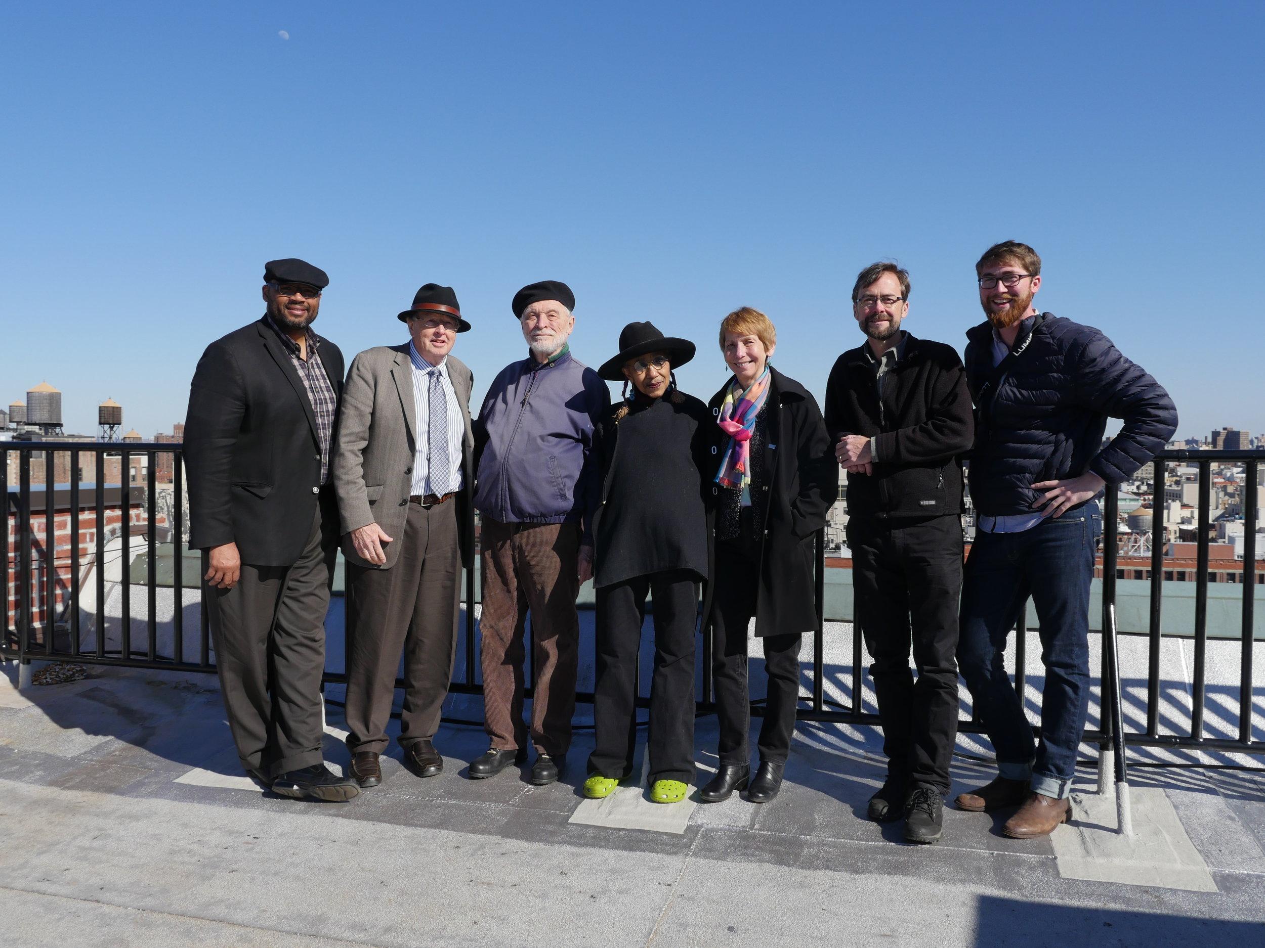 (from left) Pellom McDaniels, Randall Burkett, James Hatch, Camille Billops, Rosemary Magee, Hal Jacobs, Henry Jacobs
