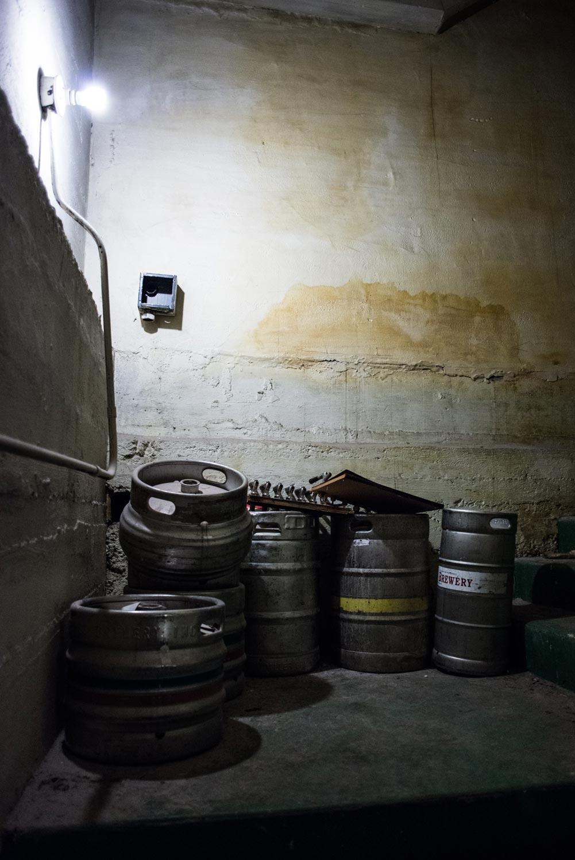 Basement kegs.