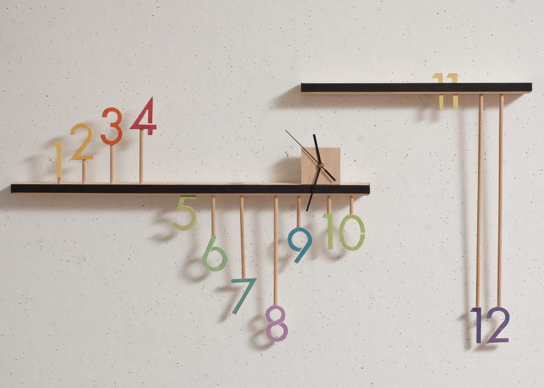 Timeline Clock, woodcut, 2011