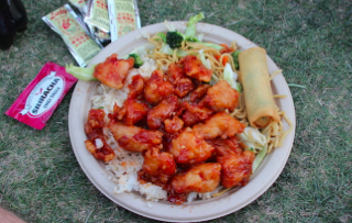 Classic Orange Chicken   Orange glazed chicken served over fried rice and chow mien with a spring roll on the side.