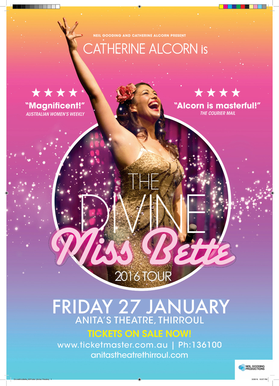 """Her show is uplifting and life affirming, a force to be reckoned with, bombarding us with irreverent humour and dazzling talent.""   - THE CANBERRA TIMES      ""a thoroughly rapturous performance.""   – THEATRE PEOPLE       ""A helluva lot of butt-wiggling, boob squeezing and classic Midler filth...you won't be disappointed by Alcorn's charisma, energy and sharp comedic timing on stage.""    - TIME OUT MAGAZINE        The Divine Miss Bette is the hilariously outrageous, naughty, camp, whirlwind of a stage show starring the critically acclaimed stage sensation Catherine Alcorn.    A 120 minute concert featuring a live band and dancers reminiscent of the 1970's tour (yes, she does the Sophie Tucker jokes and classic hits but as you've  never  heard them before!), Alcorn's show will leave you breathless and begging for more!    When Alcorn channels Midler, all Bette's are off. Catherine's razor sharp wit, mind-blowing voice and remarkable ability to capture an audience has elevated this show a national treasure."