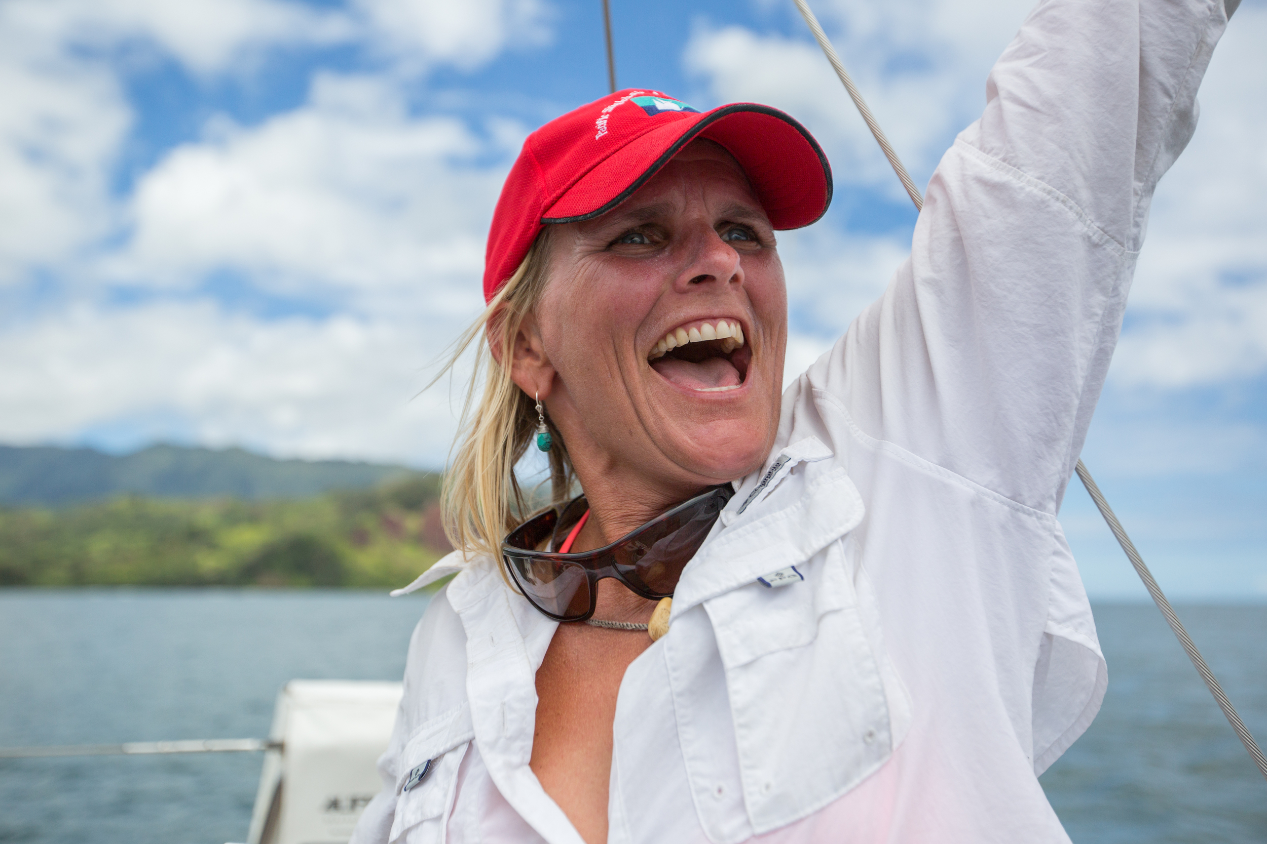 An elated me shortly after finishing in Hanalei Bay
