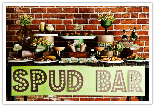 Baked Potato/Spud Bar via  Pinterest