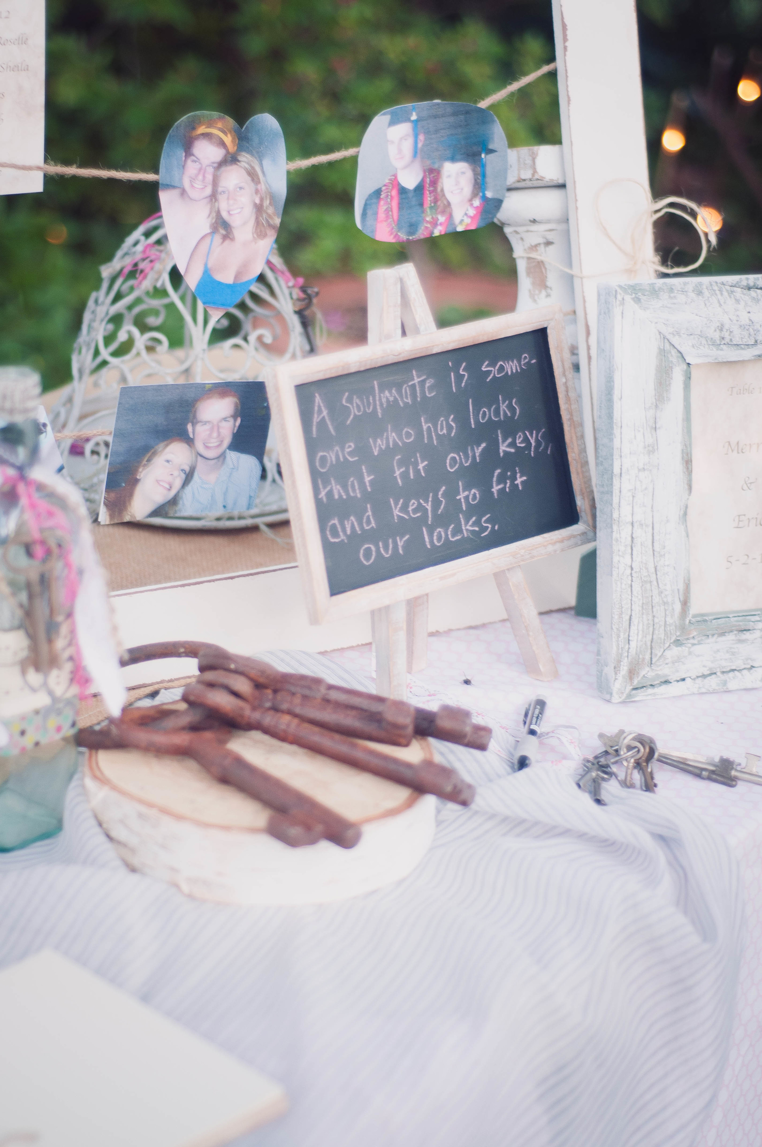 The mother of the bride created the centerpieces, welcome table, and signage for the wedding.  The rustic and eclectic style couldn't have been more perfect, and there were so many fun personal touches throughout the wedding.
