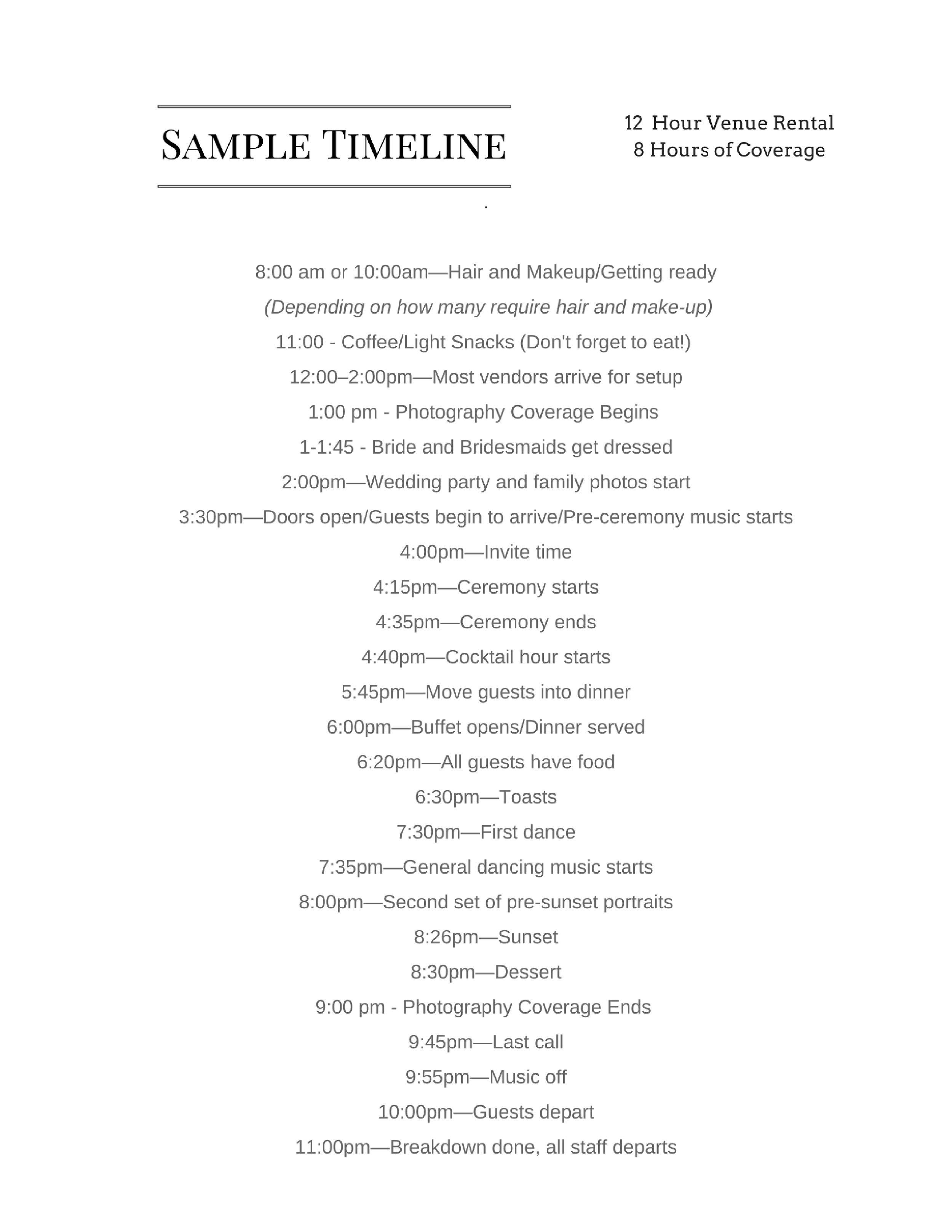 The-530-Bride-Sample Timeline