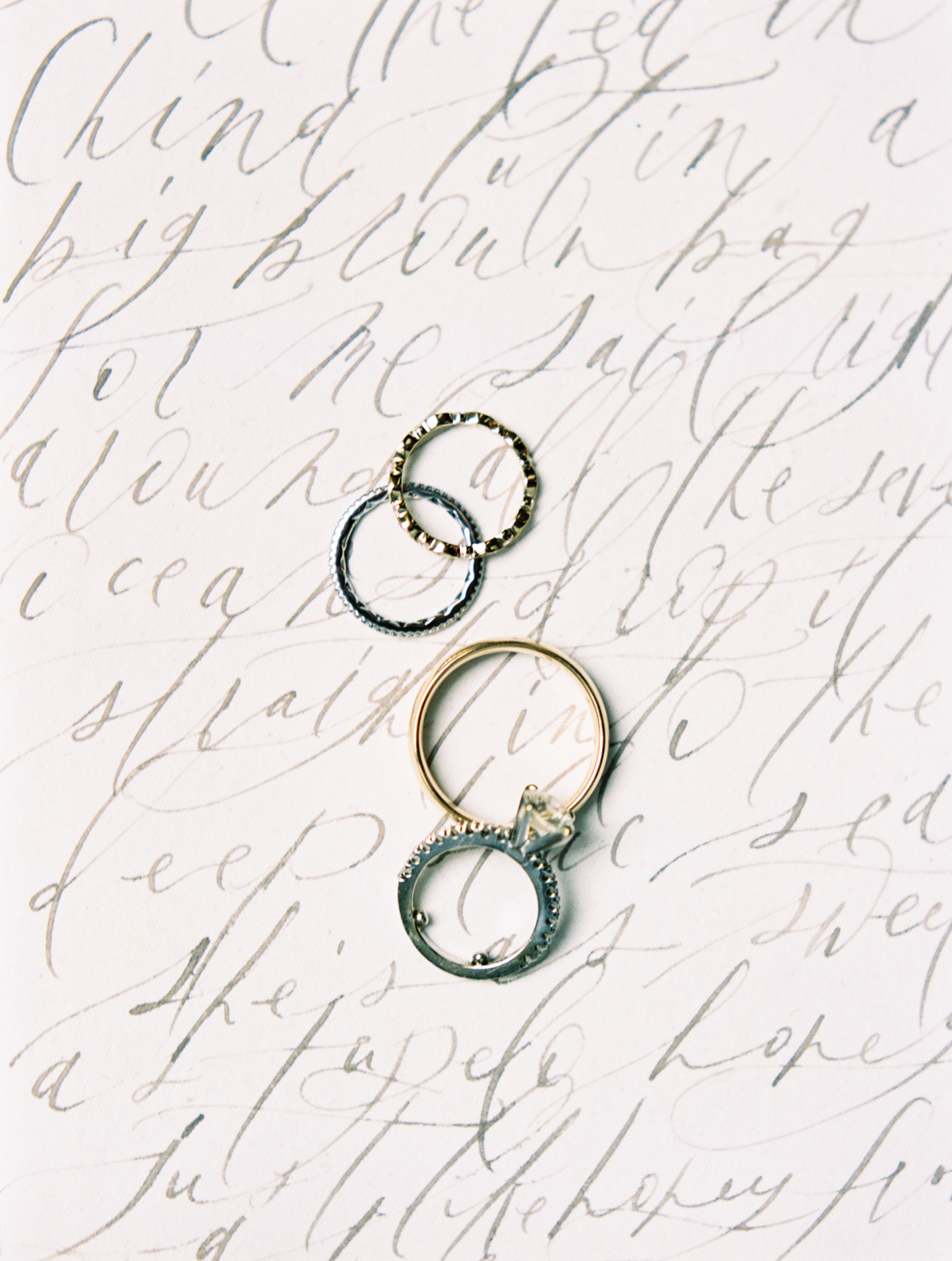 wedding calligraphy gold ring fine art