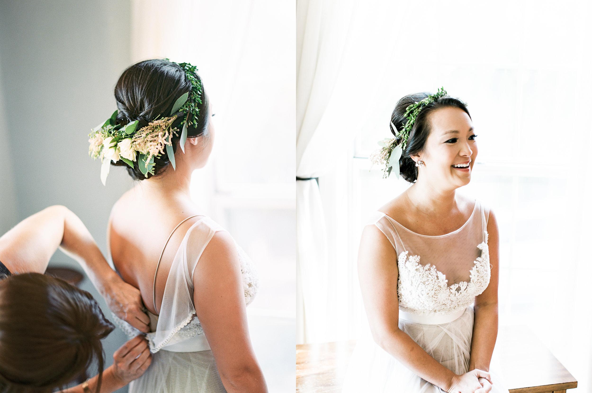 flower crown greenery lace wedding dress