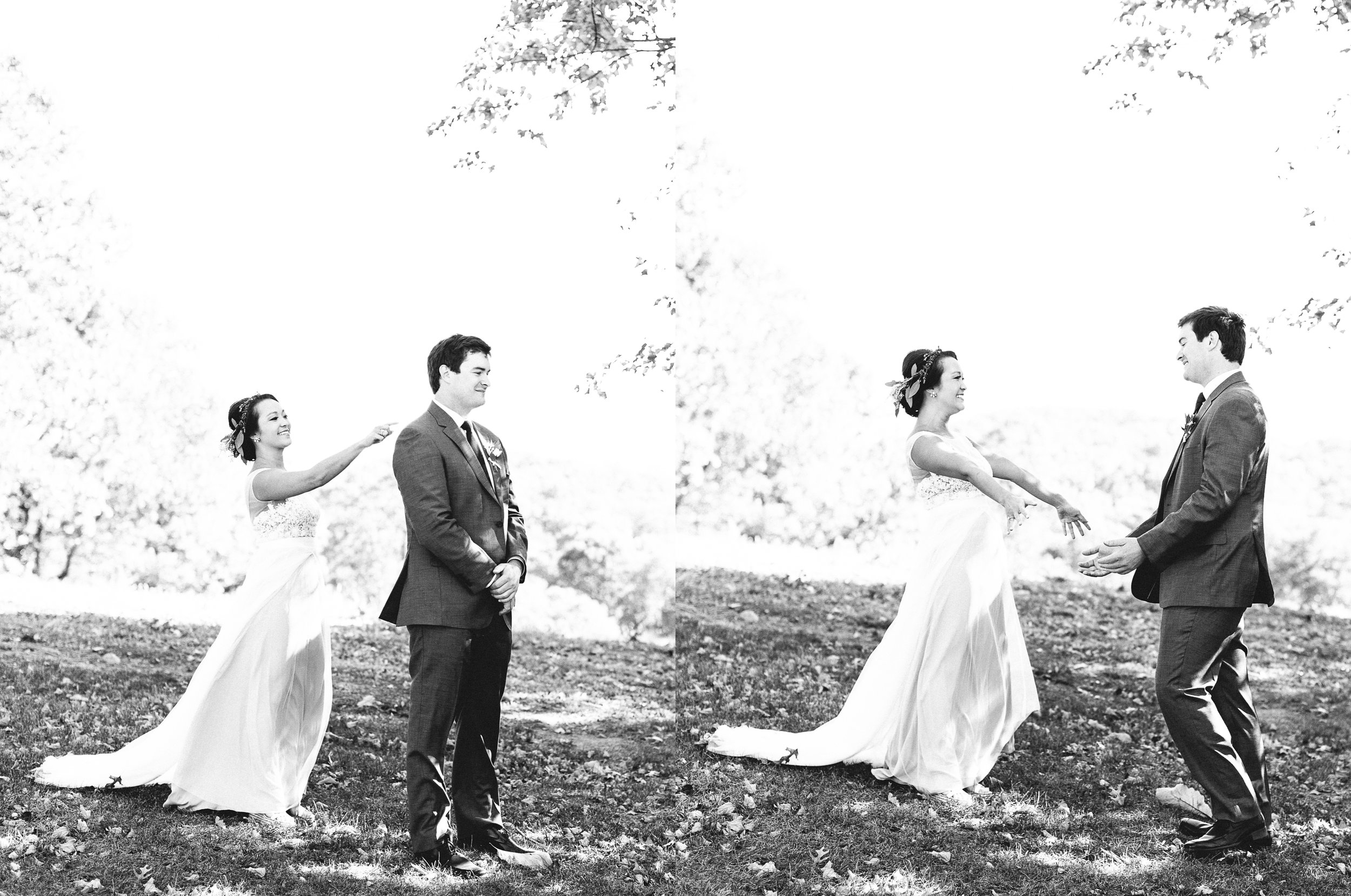First look fall wedding October mountains