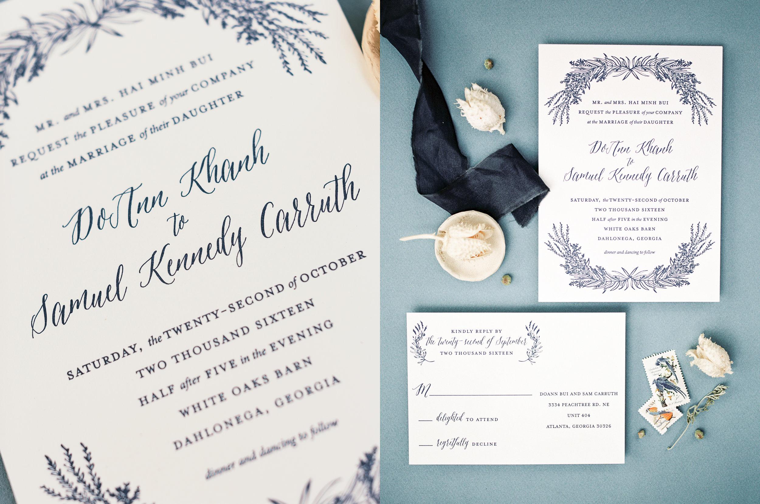 blue letterpress wedding invitations calligraphy