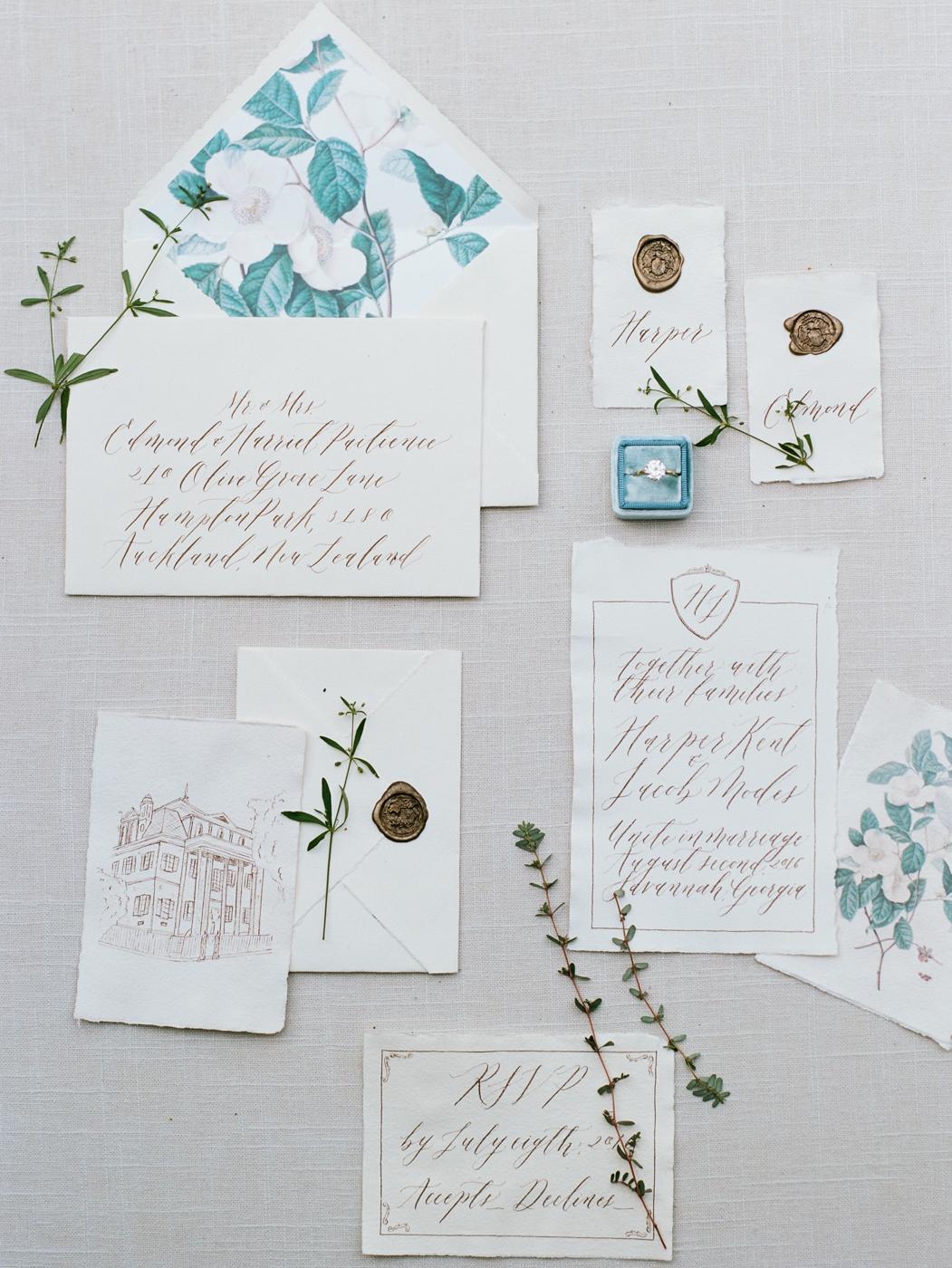 Wedding calligraphy invitation wax seal envelope