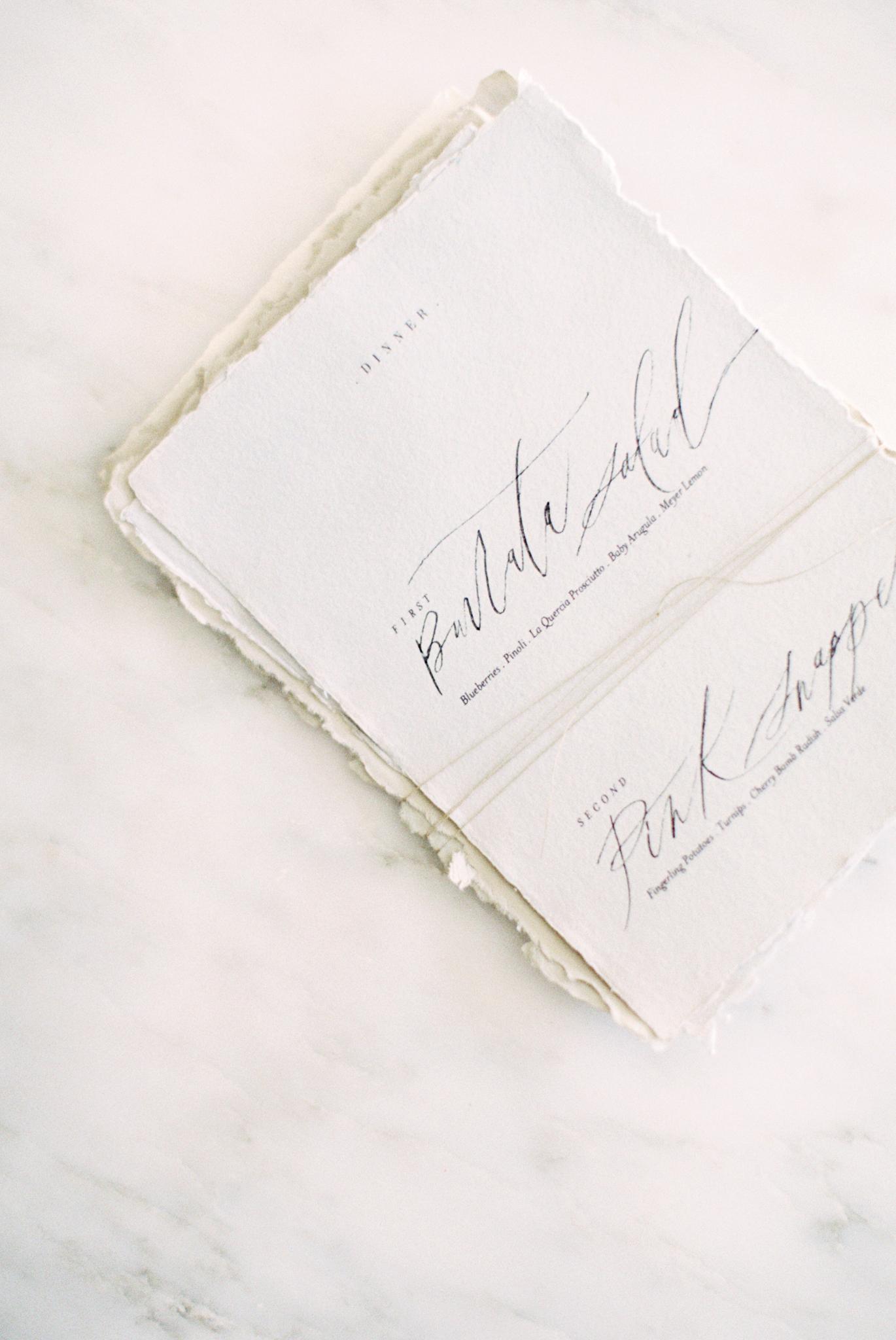 Calligraphy wedding menu torn paper hand made