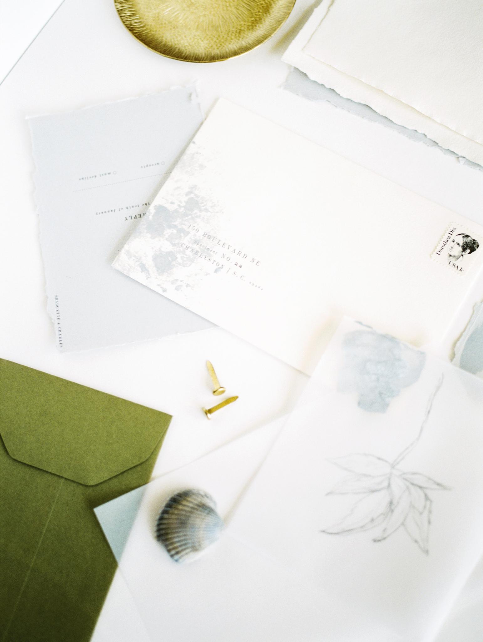 Calligraphy wedding invitation minimal clean