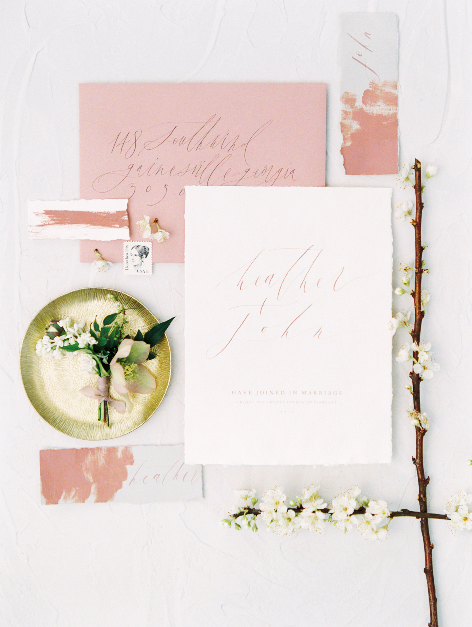 wedding invitations calligraphy hand made pink white gold