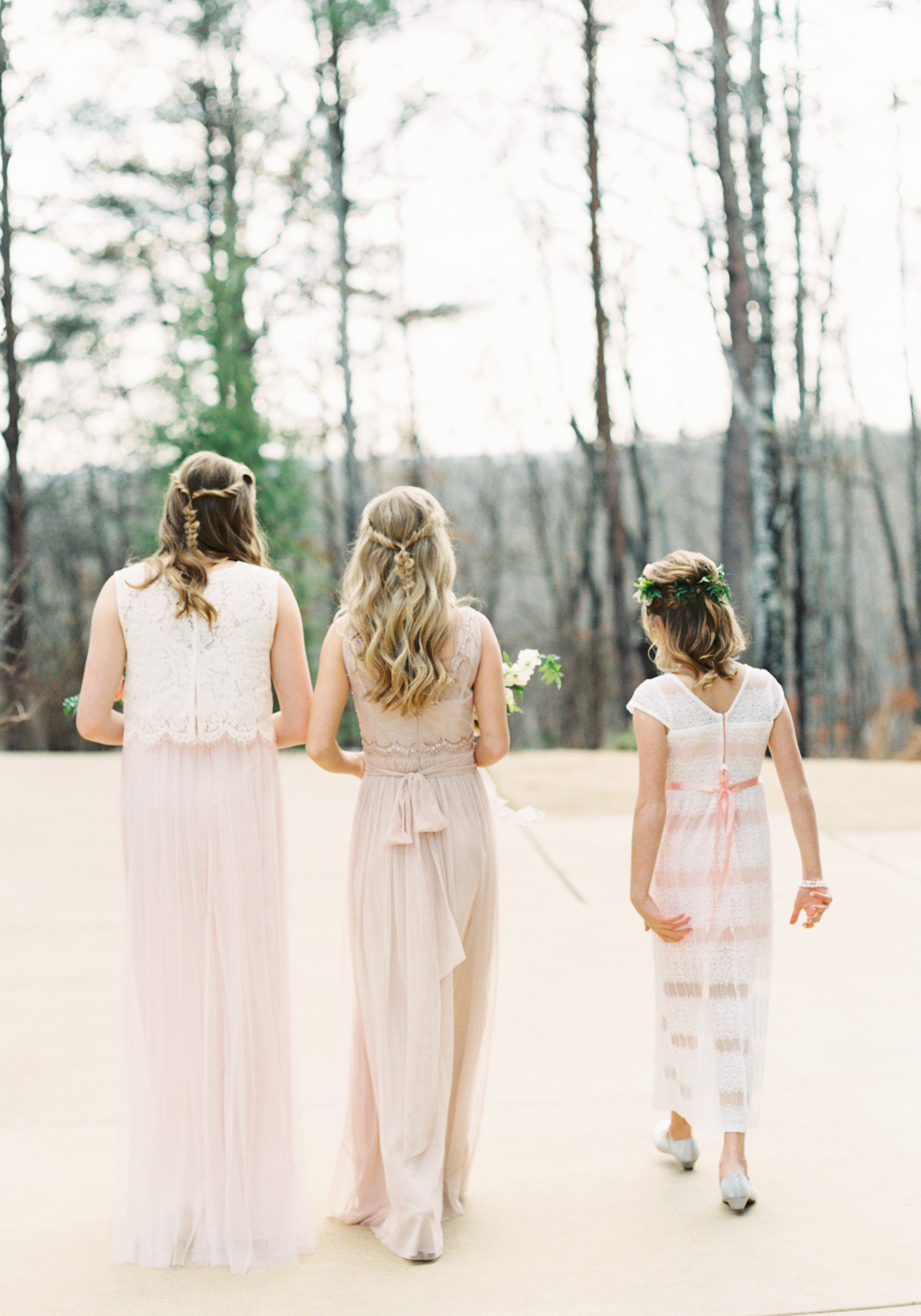 Atlanta wedding photographer film blush bridesmaids dress