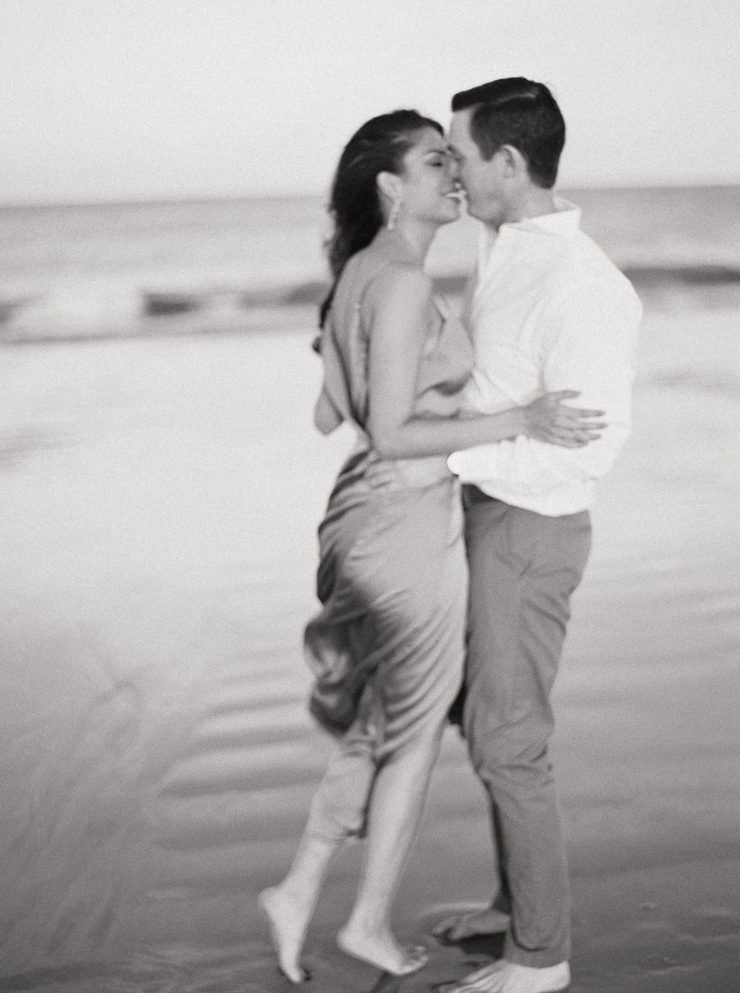 Beach engagement session fine art outfits