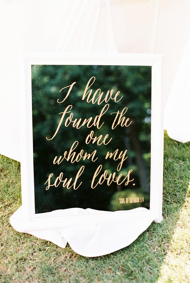 Wedding sign calligraphy mirror gold